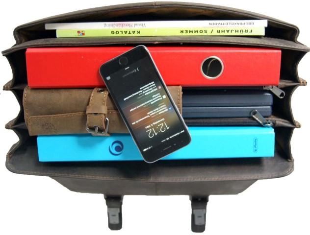 Lehrertasche braun mit 3-Fächer